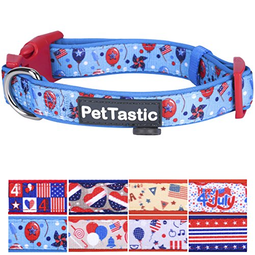 (Best Adjustable Medium Dog Collar - PetTastic Durable Soft & Heavy Duty with Cute Independent Day Design, Outdoor & Indoor use Comfort Dog Collar for girls, boys, puppy, adults, including ID Tag Ring )