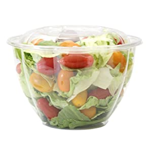 [50 Pack] 48 oz BPA Free Clear Plastic Bowl With Dome Lids Combo for Salads Fruits Parfaits, Disposable, Large Size