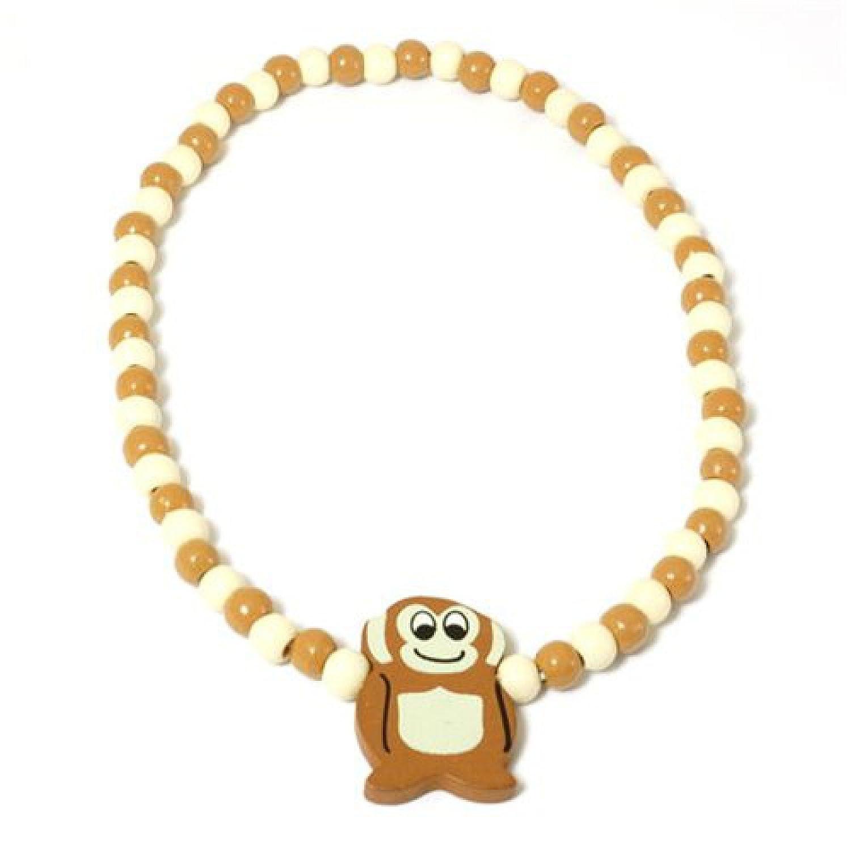 Collier de Perles pour Enfant en Bois Peint Orné d'un Singe Bijoux Direct FJ599