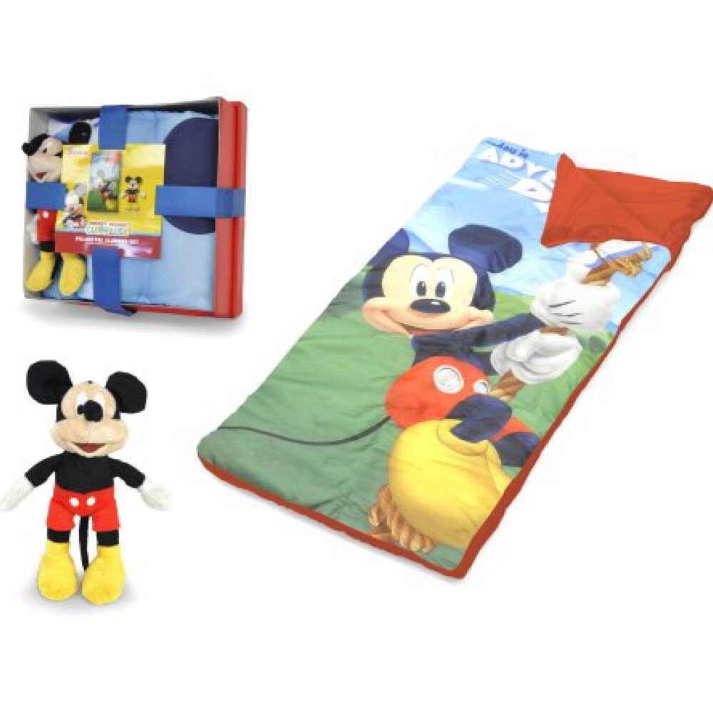 Kids Disney Mickey Mouse Sleeping Bag with Figural Pillow
