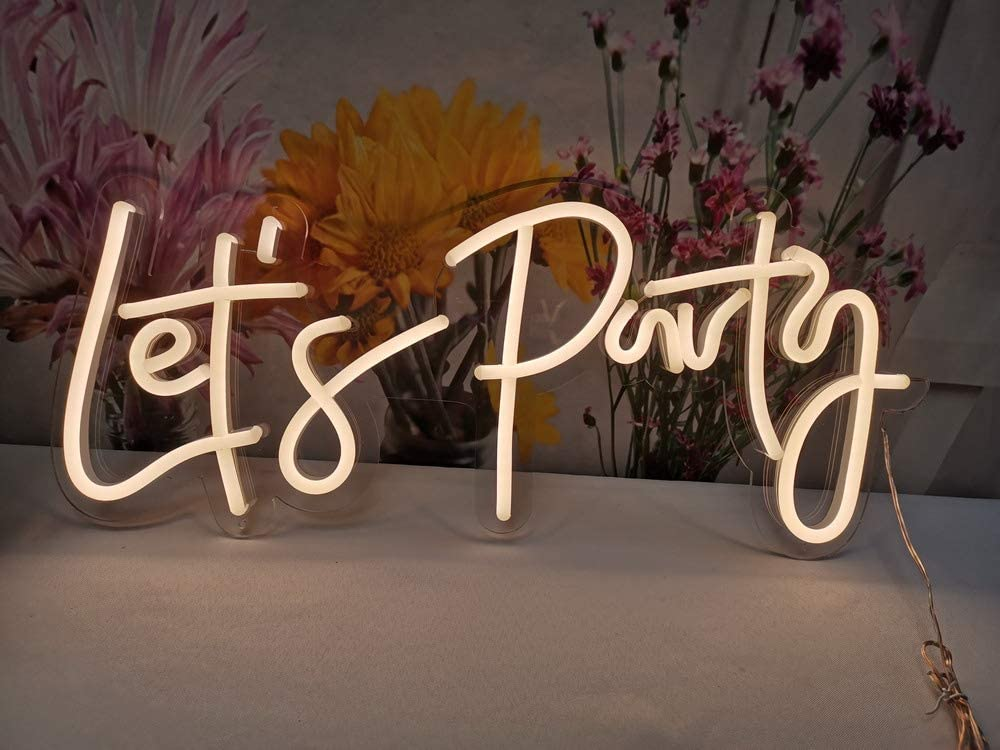 Divatla Neon Sign Let's Party Sign for Bachelorette Party Engagement Party First Birthday Favors, Birthday Party etc Party,Size- 23X10inches LED Tube Sign for Wall Decor.