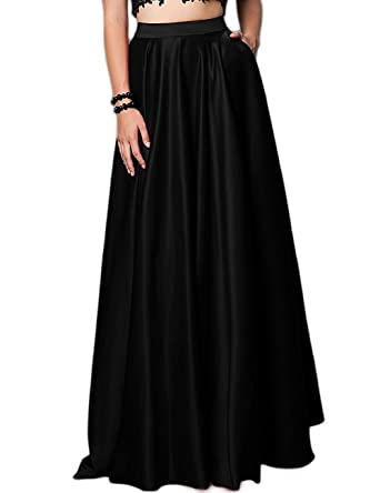 f696caeb39441e Duraplast Women's Formal Long Skirt with Pockets Natural Waist Plus Size  US2 Black