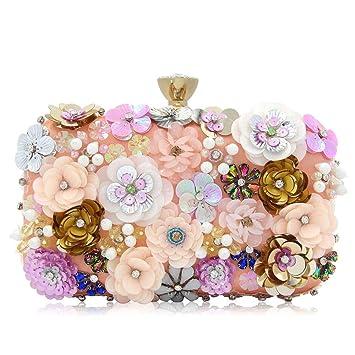 XOXO Elegante Bolso de Noche con Cuentas de Flores en Color Bolso de Embrague Bolso de Noche de Perlas de Alto Grado Bolso de Boda: Amazon.es: Hogar