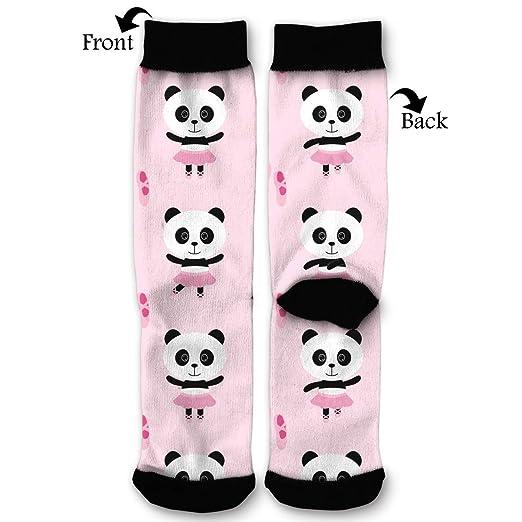 fcd5aaedfb4e Amazon.com: Pink Ballerina Panda Pattern Dress Socks Funny Socks Crazy Socks  Casual Cotton Crew Socks Knee High Fitness Gifts Novelty Socks for Mens  Womens ...