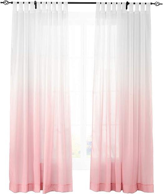 Gradient Ombre Sheer cortina Tab Top Tul Gradual de cortinas para interior exterior porche en la parte delantera Pergola Cabana cubierto Patio Gazebo ...