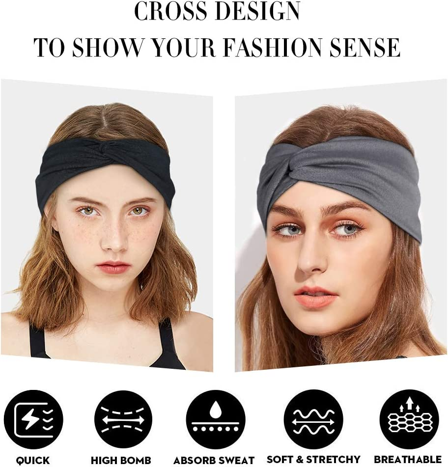 PURFUN Athletic Wide Running Headbands Sports Head Wrap Lightweight Stretchy Moisture Wicking Sweatband Hairband for Yoga Dance Workout Gym Fitness Cycling Basketball
