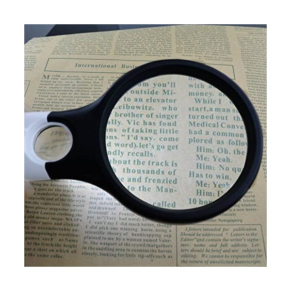 Zonku Magnifier 3 LED Light Hand-Held Maganifier Glass for Microscope Reading Maganifying Glass Lens Jewelry Loupe- White 2