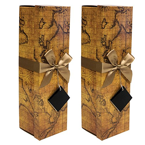 Champagne Gift Box x2 - Reusable Caddy - Easy to Assemble - No Glue Required - Ribbon Tie and Gift Tag Included - Vintage World Map Design - Romanee Collection - EZ Gift Box By Endless Art US