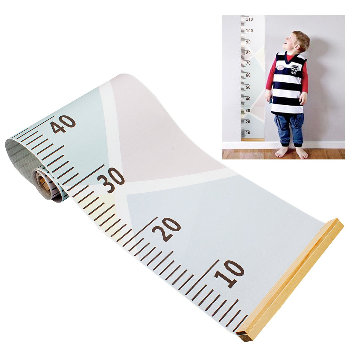 Baby Growth Chart Wall Hanging Ruler, Amariver Canvas Removable Height Growth Chart Wall Room Decoration for Kids Children, Macaron Style, 79'' x 7.9''
