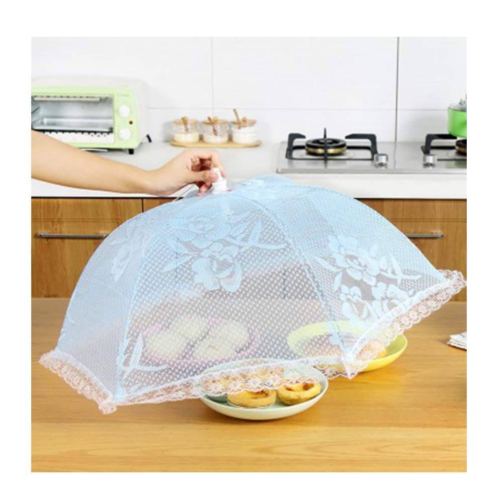Food Dust Cover, Rice Food Table Cover Kitchen Meals Cover Foldable Gauze Table Cover Anti-Fly Cover(3Pcs),Blue,6Pcs