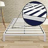 Best Price Mattress Twin XL Bed Frame - 14 Inch Metal Platform Beds [Model C] w/Steel Slat Support (No Box Spring Needed), White
