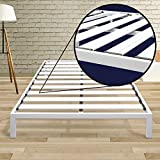 Best Price Mattress Full Bed Frame - 14 Inch Metal Platform Beds [Model C] w/ Steel Slat Support (No Box Spring Needed), White