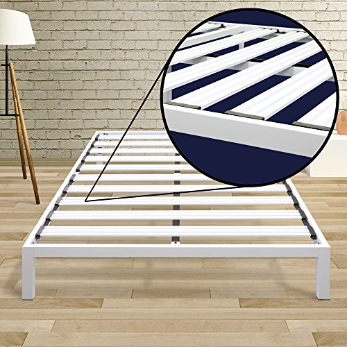 Best Price Mattress Model C Heavy Duty Steel Slat Platform Bed White, Queen / Sturdy, Durable Metal Bed Frame (Platform Sturdy)