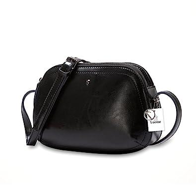 25d03594f4 Yoome Women s Vintage Genuine Leather Crossbody Bag Shoulder Boho Purse  Cowhide Shell Shape Bag - Black