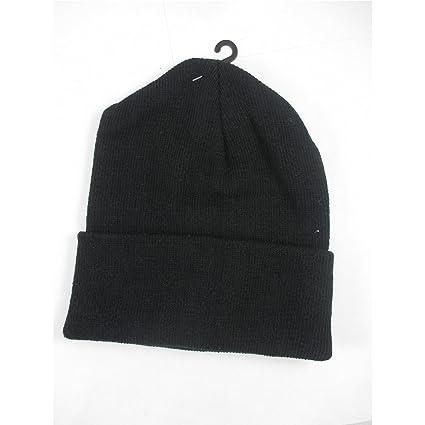 Amazon.com  Plain Beanie Ski Cap Skull Hat Warm Solid Color Winter Cuff New  Black Beany Men  Sports   Outdoors da219a5400d
