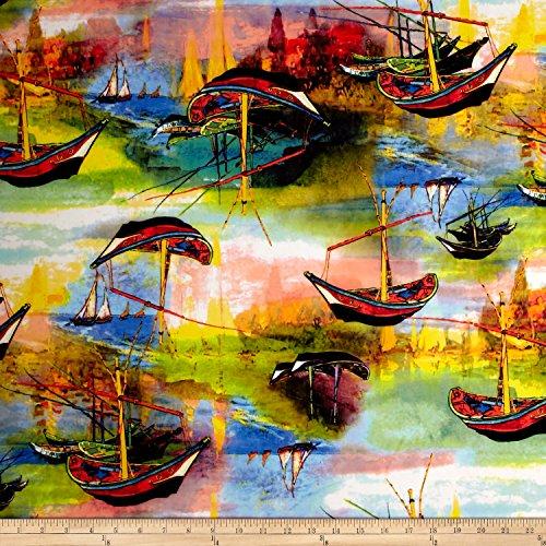 TELIO 0556739 Marni Scuba Knit Print Boat Deep Blue Coral Fabric by The Yard