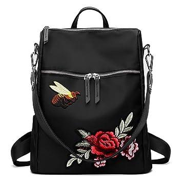 Mochilas mujer verano mochila mujeres 3D bordado moda mujer mochila de gran capacidad Oxford bolso de hombro Black: Amazon.es: Equipaje