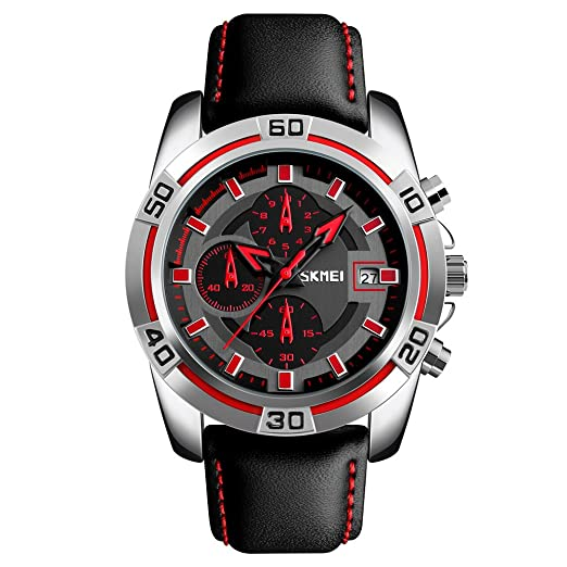 2048a8d67 Amazon.com: Sports Mens Watches,SKMEI Chronograph And Date Wristwatches For  Men,30 Meters Waterproof Soft Black Leather Strap Military Watch (red):  Beauty