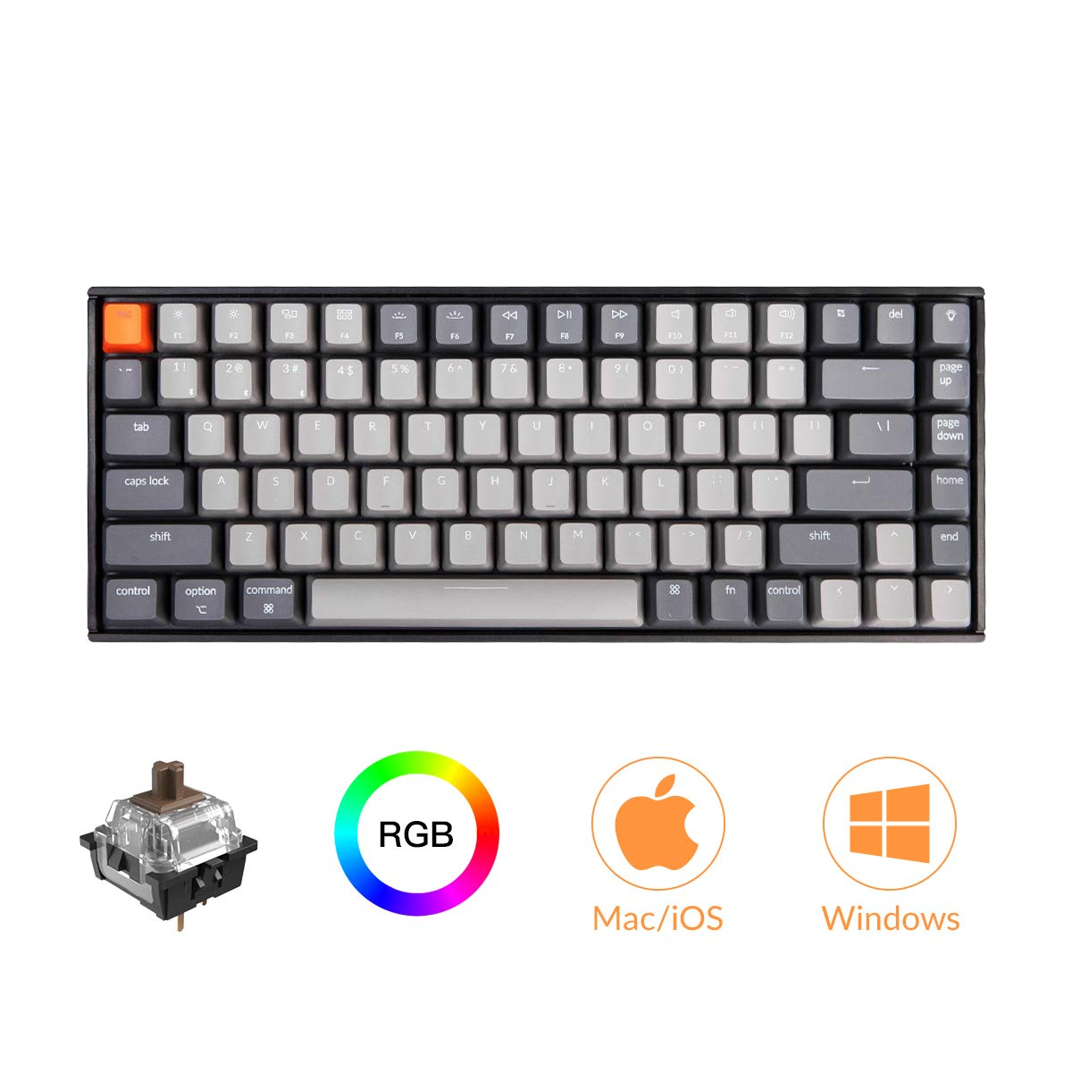 Keychron K2 RGB Wireless Mechanical Gaming Keyboard with Gateron Brown Switch USB Wired Anti Ghosting 84 Key N-Key Rollover, Bluetooth Computer Keyboard for Mac Windows PC Gamer