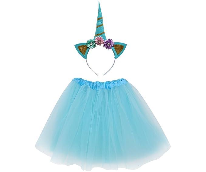 493affe04dfe4 Amazon.com  So Sydney Kids or Adult 1-2 Pc Flower Unicorn Headband or Tutu  Set Costume Outfit  Clothing