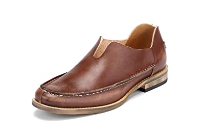 Men Leather Loafers Slip on English Style Round Toe Color Brown