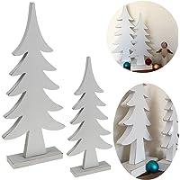LS-LebenStil 2X XL Design Deko Holz Weihnachtsbaum Set Weiß 34/24cm Holz-Baum X-Mas