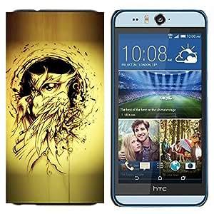 TECHCASE---Cubierta de la caja de protección para la piel dura ** HTC Desire Eye ( M910x ) ** --pájaro búho pintura de tinta negro tatuaje amarilla