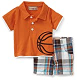 Kids Headquarters Baby-boys Newborn Basketball Polo and Short Set, Orange, 3-6 Months