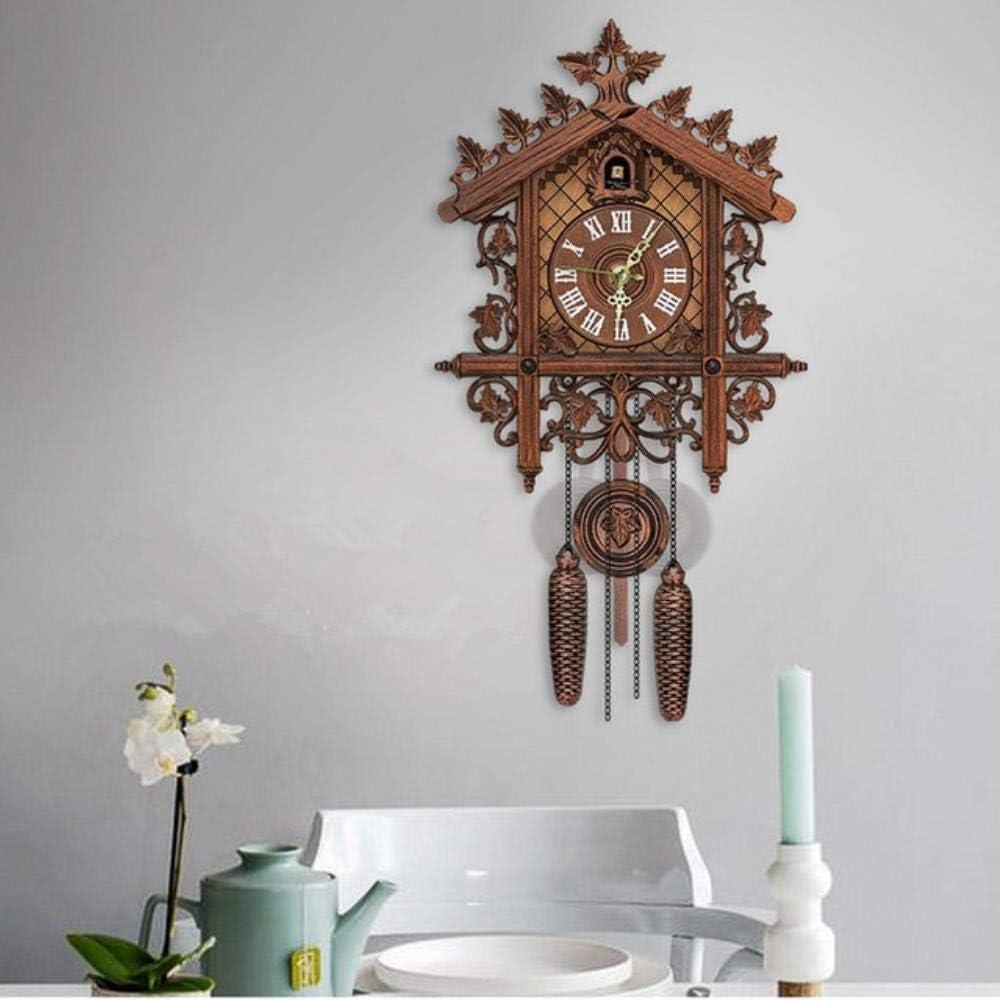 Homie Reloj de Pared de Cuco de Madera de Estilo Retro Reloj de Cuarzo con batería Reloj Antiguo Vintage con péndulo, 2