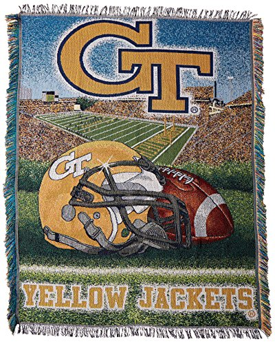 Officially Licensed NCAA Georgia Tech Yellow Jackets Home Field Advantage Woven Tapestry Throw Blanket, 48