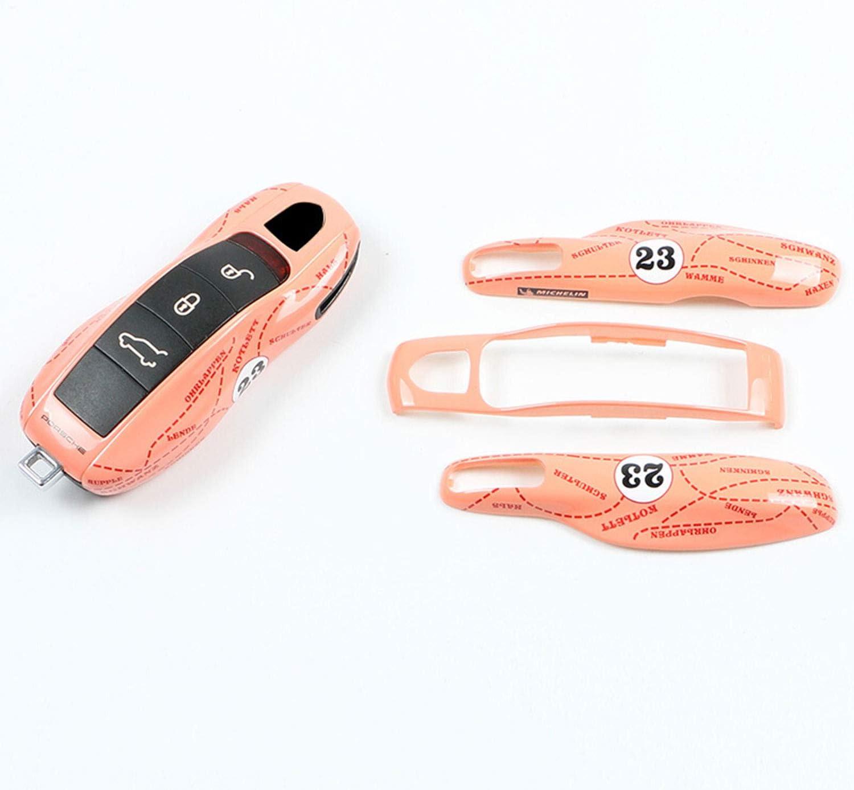 Kwaks Key Case for Porsche Pink Pig ABS Car Key Cover Fits for Porsche 718 Macan Panamera 911 Cayenne A type-peach