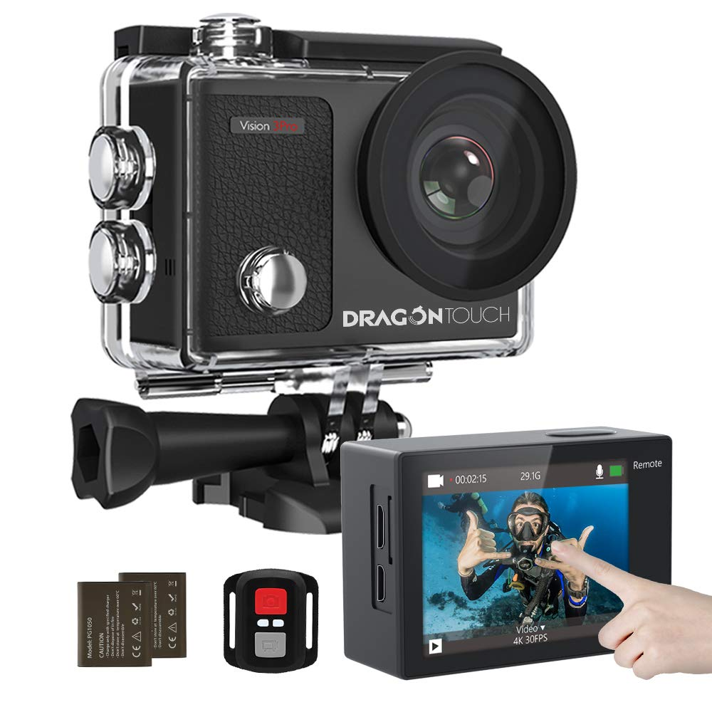 Dragon Touch 4K Action Camera Touch Screen 16MP Vision 3 Pro 100 feet Waterproof Camera Adjustable View Angle WiFi Sports Camera with Remote Control and Helmet Accessories Kit by Dragon Touch