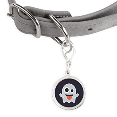 CafePress Ghost Emoji Small Round Pet Tag