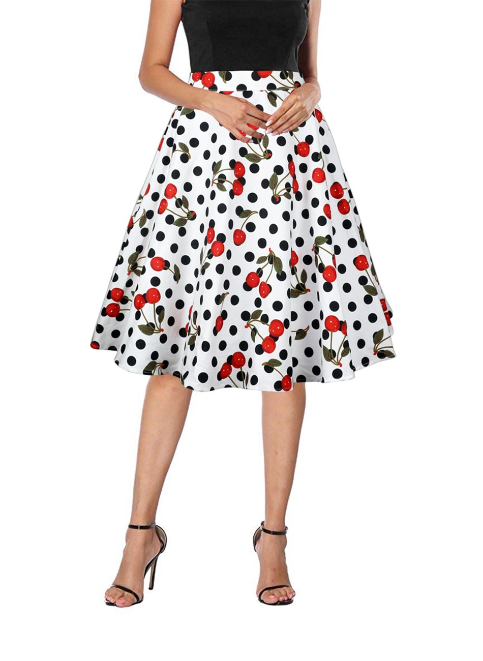 Yanmei Women's Cherry and Polka Dot Print Skirt Knee Length Christmas Party Skirt White Large 1086-8