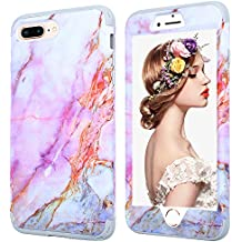 iPhone 7 plus Marble Case,iPhone 8 plus Case for Girls,Kudex Ultra Slim Clear White Marble Pattern Design Dual Layer Shockproof Anti-Scratch Hybrid High Impact Protective Case Cover for Women (Purple)