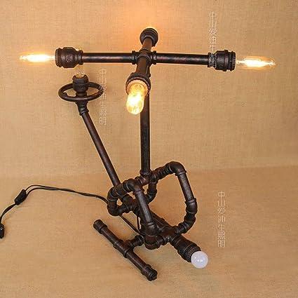 Pointhx Loft Creativo Hierro labrado Retro Lámpara de mesa ...