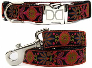 "product image for Diva-Dog 'Venice Ink' Custom Medium & Large Dog 1"" Wide Dog Collar with Plain or Engraved Buckle, Matching Leash Available - M/L, XL"