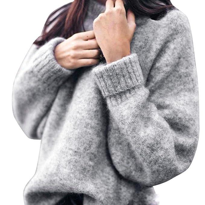 low priced a8434 849a9 Pullover Damen, GJKK Damen Pullover Winter Warm Strickpullover Damen  Langarm O-Ausschnitt Strickpulli Slim Fit Stricken Pullover