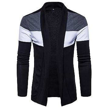 Chaquetas de hombre, Manadlian Hombres chaqueta de punto suéter Delgado Ajuste Encapuchado Moda Trench de patchwork: Amazon.es: Deportes y aire libre
