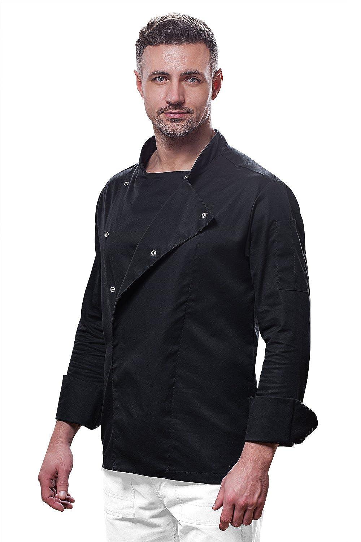 Kermen Uniforme Made in EU Vari/ét/é de Tailles S /à XXL Veste de Cuisine Chef Noir Homme Professionnel Manches Longues