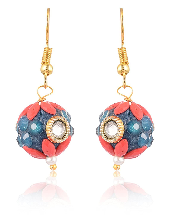 Subharpit Blue Color Pearl Golden Color Metal Non Precious Indian Ethnic Tratitional Drop