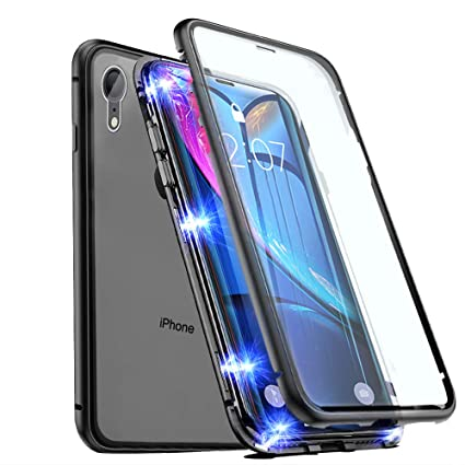 EAZY2HD Magnetic Case for iPhone XR iPhone Case Front and Back Tempered Glass 360°Protection with Built-in Magnet Cover, Ultra Slim Magnet Adsorption ...