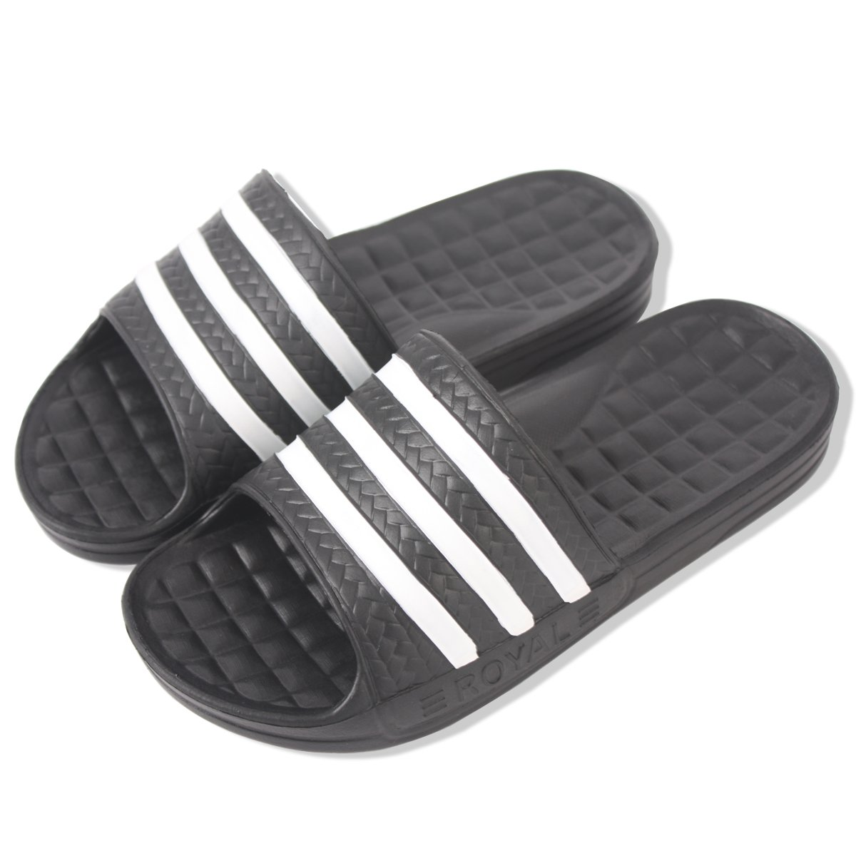 Korean Style Three Striped Eva Slippers for Women Men,Soft House Sandals Suitable for Office Bedroom Dining Room Spa Swimming Poolside Indoor & Outdoor (M:9/W:10, Black)