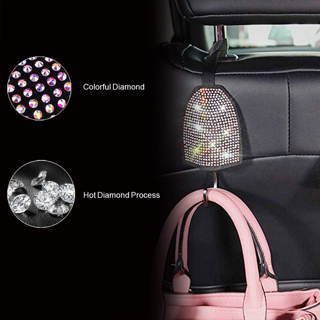 Diamond Colorful Crystal Soft Seat Belt Strap Shoulder Pads Decor Accessories for Women Girls 2 Packs Car Bling Bling Crystal Rhinestones Seatbelt Covers for Women Adults Girl HJD