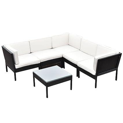 Amazon.com : Patio Furniture Set 6 PCS Rattan Wicker Steel Frame ...