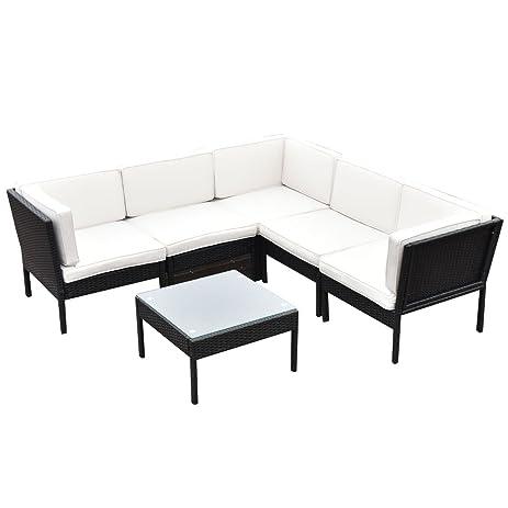 Amazon Tangkula 6 pcs Rattan Patio Furniture Set Steel Frame