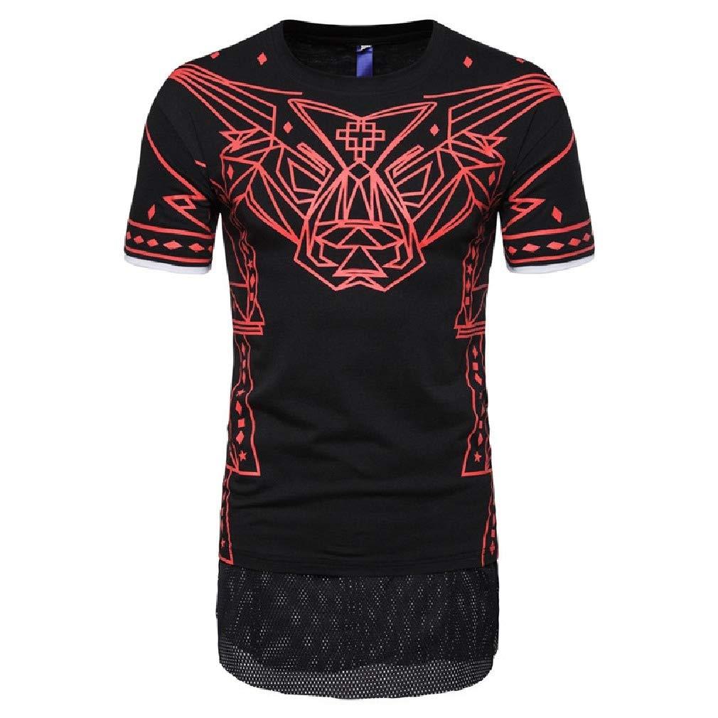 Mfasica Men Geometric Print Mesh Splice Tall Crew Short Sleeve T-Shirt