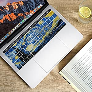 "Herngee Starry Night by Van Gogh Macbook keyboard Cover for 2016 New MacBook Pro 13"" 15"" with Multi-Touch Bar A1706 A1707"