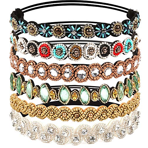 Beaded Elastic - Teenitor 6pcs Rhinestone Beaded Headband, Elastic Jewelry Hair Bands for Lady Women Girl Hair Accessories 20-26.8'' Multicolor