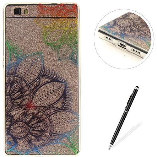 Caja Transparente de Huawei P8 Lite, MAGQI Flexible y Durable del gel de TPU a Prueba de Choques [Anti-Rasguñe] Tope de la Absorción y, [Pluma Negra Libre de la Aguja]-Flor de la magnolia Flores
